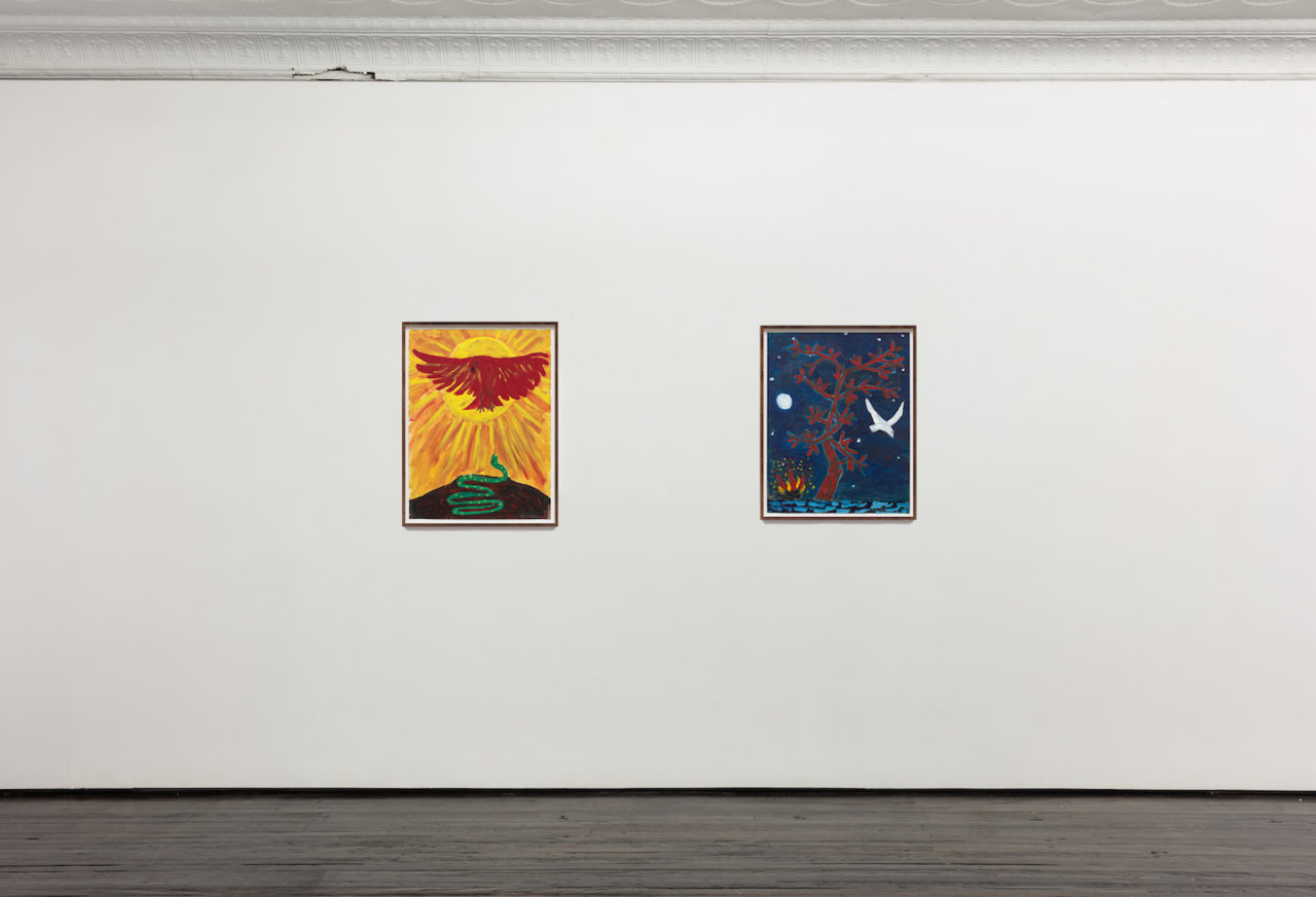 Works on Paper | Installation view, <i>Eagle and Snake</i>, 1979, and <i>Fire Tree</i>, 1979