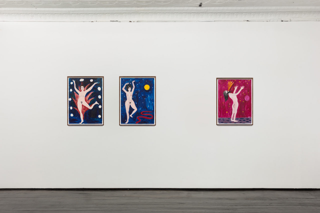 Works on Paper | Installation view, <i>Eve</i>, 1979; <i>Moon Goddess</i>, 1979; and <i>Fire Eater</i>, 1980