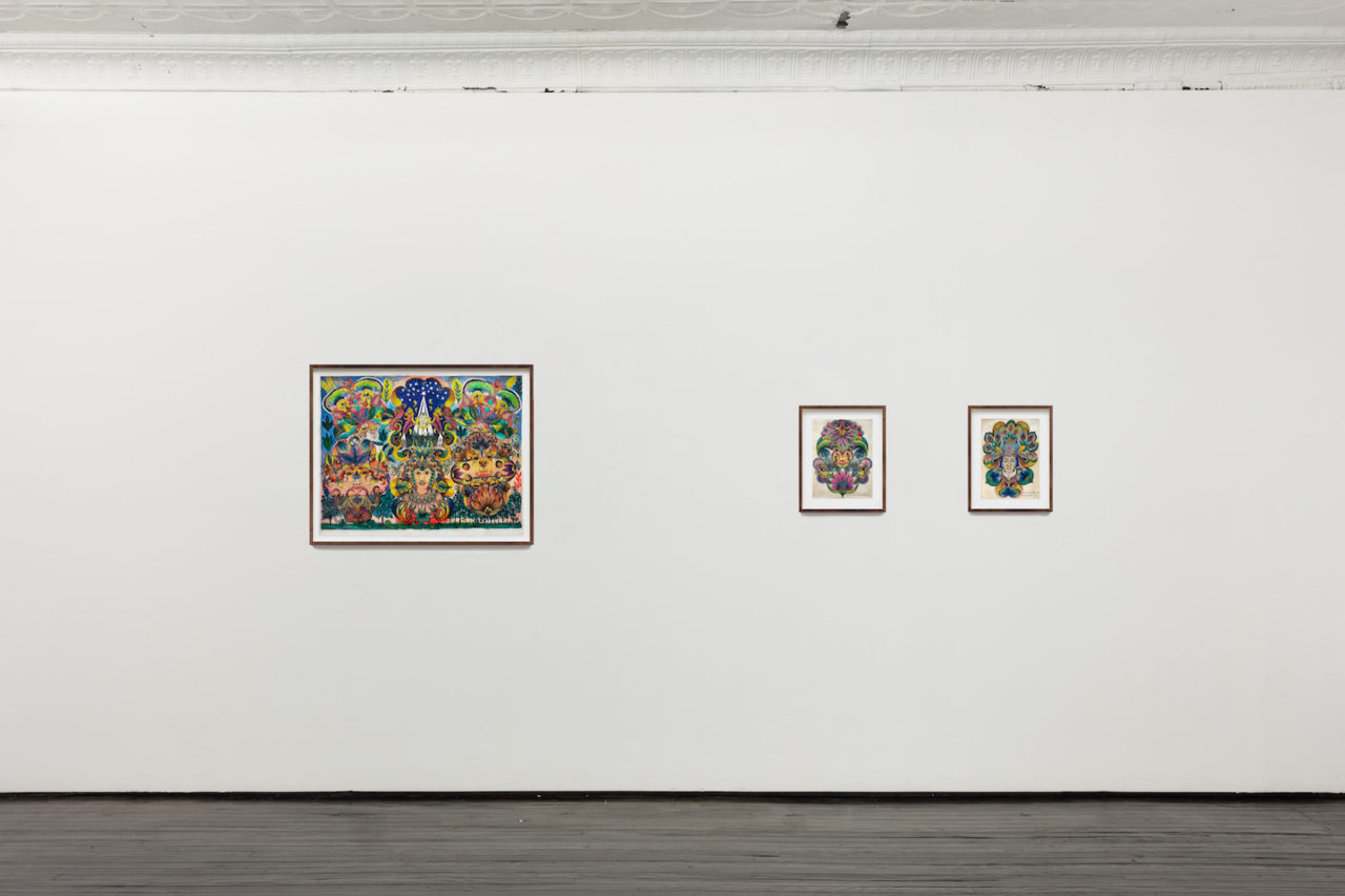 In Sickness and In Health | Installation view, Minnie Evans, <i>Untitled</i>, 1967; <i>Untitled</i>, 1962; and <i>Untitled</i>, 1962