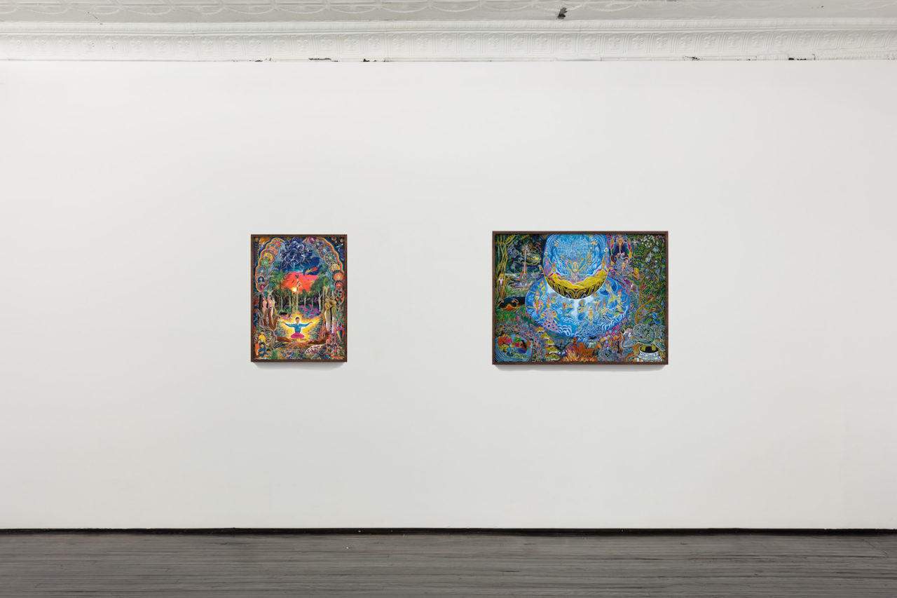 In Sickness and In Health | Installation view, Pablo Amaringo, <i>Jehua Supai</i>, 2004, and <i>Unai Shipash</i>, 2006