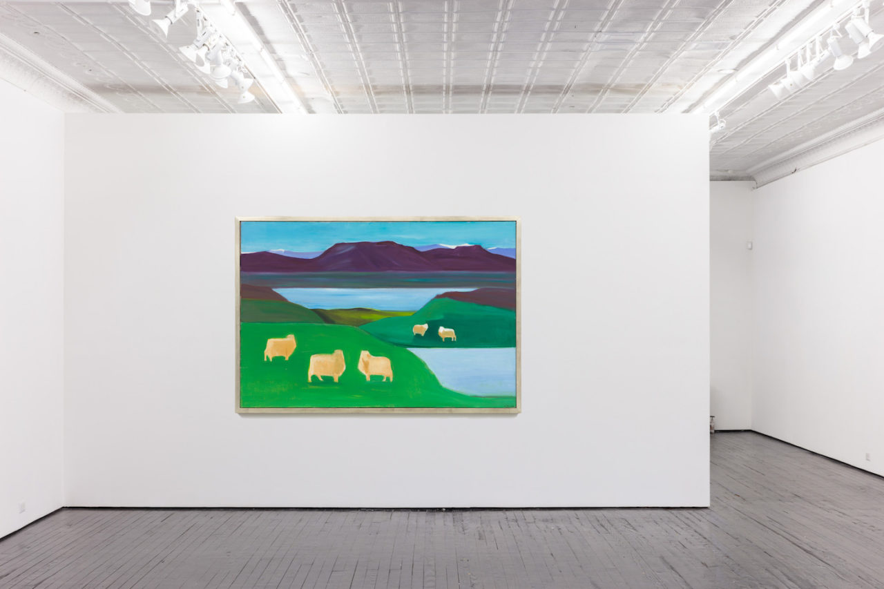 Six Landscapes | Installation view, <i>Five Sheep</i>, 1990